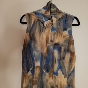 Studio C blouse with gold, blue, and brown specks.